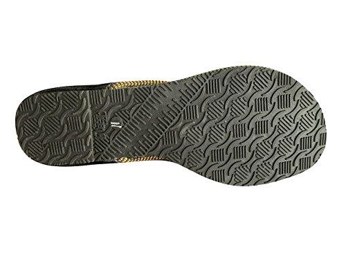 N Step stile Jaipuri sandali Flat Salwar Kameez calzature Khussa Jutties-Spille da balia, motivo: etnico Nero (nero)