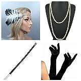 thematys® Gangster Mafiosa Set + Diadema + Collar + Guantes + Porta Cigarrillos - Conjunto de Disfraces para Mujer de 20 años Carnaval (10)
