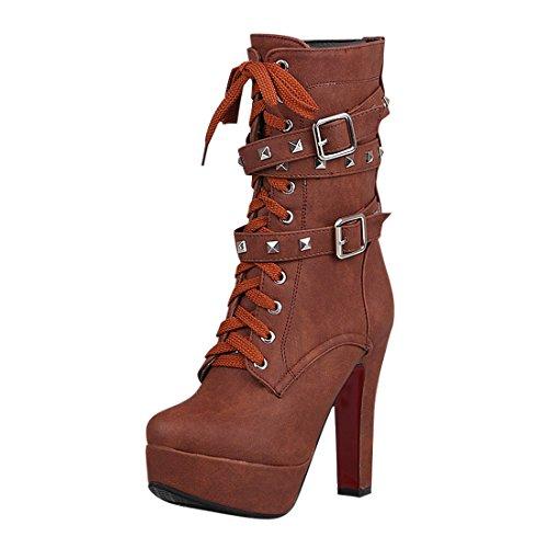 YE Damen Blockabsatz High Heels Plateau Halbschaft Stiefel mi Schnürung und Nieten Schnallen und Reißverschluss 12cm Absatz warm gefüttert Boots Braun