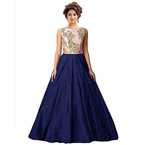 Nena Fashion Women Faux Georgette Gown (Cadbury_Nnfm_Blue1_Blue_Free Size)