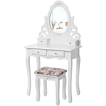 SONGMICS blanc Coiffeuse table de maquillage avec miroir et tabouret 139 x 75 x 40 cm RDT04W