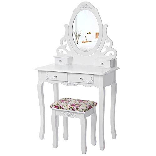 2 Stück Moderner Stuhl (Songmics aushöhlen Schminktisch mit spiegel u. hocker, 4 schubladen inkl. 2 Stück Unterteiler, Kippsicherung, weiß RDT04W)