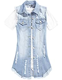 b041a392f4a iBaste Waistcoat Women Girl Denim Jacket Gilet Distressed Ripped Button  Sleeveless Tops Plus Size