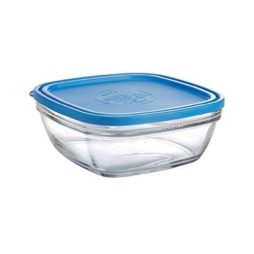 Duralex - Saladier Carre 23Cm avec couvercle Bleu Lys