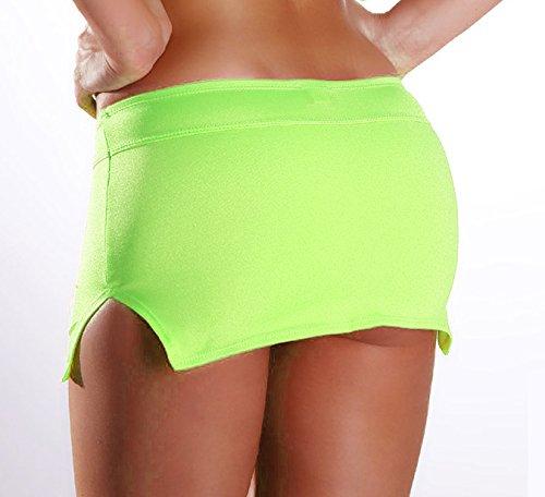 sexy Stretch Minirock mit Seiten Schlitzen Neongrün
