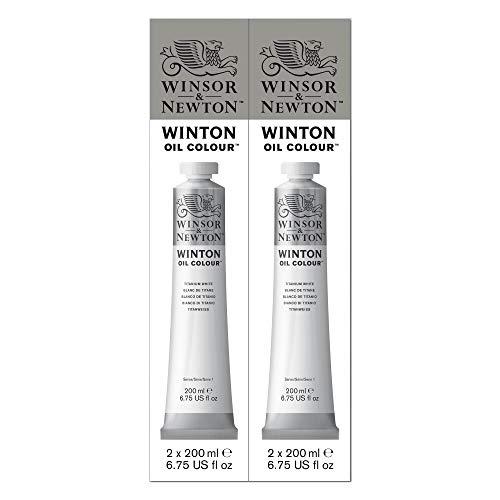 Winsor & Newton, colore ad olio Winton, confezione doppia da 200ml, bianco titanio