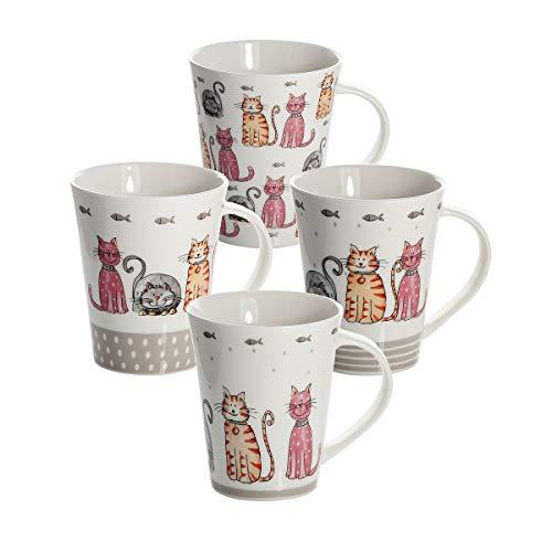 SPOTTED DOG GIFT COMPANY 4 Set große Tassen Kaffeebecher Mugs Keramik Porzellan, Spülmaschinenfest weiß mit Katzen Design, Schöne Geschenkideen für Katze und Tier Liebhaber Geschenke