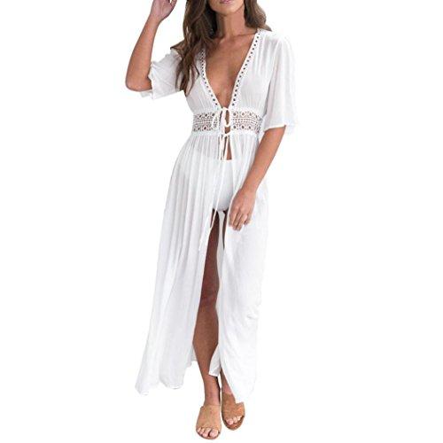 Damen Kleider Frauen Dress Weiß Maxikleid Minikleid V-Ansatz Sommerkleider Vintage Mantel Kurze Ärmel Bikini Bademoden Cover up Cardigan Beach Badeanzug Kleid mit Gürtel (M, Sexy Weiß)