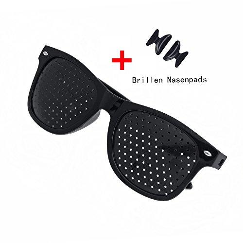 Rasterbrille Lochbrille Pinhole Glasses Nadelöhr für Augentrainer Entspannung Gitterbrille mit (Black, 1* Lochbrille + 1 Paar Brillen Nasenpads)