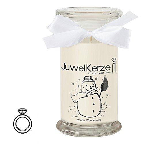 JuwelKerze Winter Wonderland - Kerze im Glas mit Schmuck - Große weiße Duftkerze mit Überraschung als Geschenk für Sie (Silber Ring, Brenndauer: 90-120 Stunden)(L)