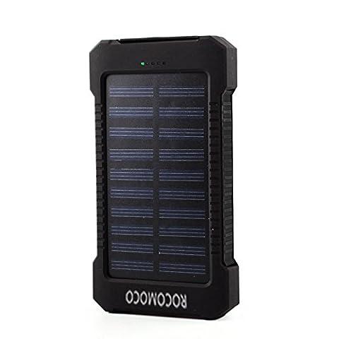 Rungao 20000mAh Chargeur solaire, double USB LED Light Mousqueton avec boussole chargeur solaire portable batterie externe Power Bank pour téléphone portable Pad MP3MP4