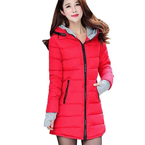 ASHOP Ropa Mujer, Chaquetas de Mujer Casual Formal Abrigo de Talla Larga Señoras Tops Sueltos (Rojo,XL)