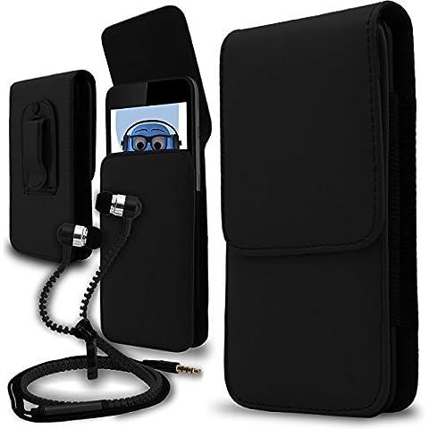 iTALKonline Samsung T509 Nero PREMIUM PU pelle verticale esecutivo laterale della cassa del sacchetto per armi della copertura con attacco cintura Clip e chiusura magnetica