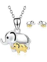 Elefanten Schmuck Sets Sterling Silber Mutter und Tochter Sohn Elefanten  Kette und Ohrringe Schmuckset für Damen 7e2eff44a5