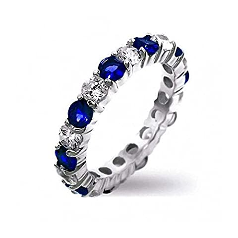Sterling Silver Simulated Sapphire CZ Stackable Eternity Band Ring (Stapelbare Zirkonia Band)
