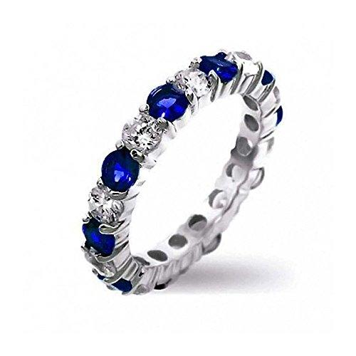 Abwechselnden Stapelbar Cz Ring Simulierten Saphir Sterling Silber Februar Monat ()