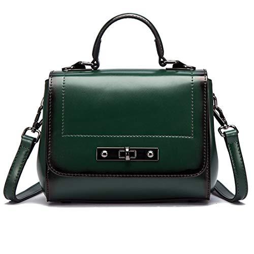LiShihuan Umhängetasche für Frauen Vintage Echtem Leder Top Griff Tote Geldbörsen Schulranzen Handtasche (Color : Green) - Designer-medium-tote -