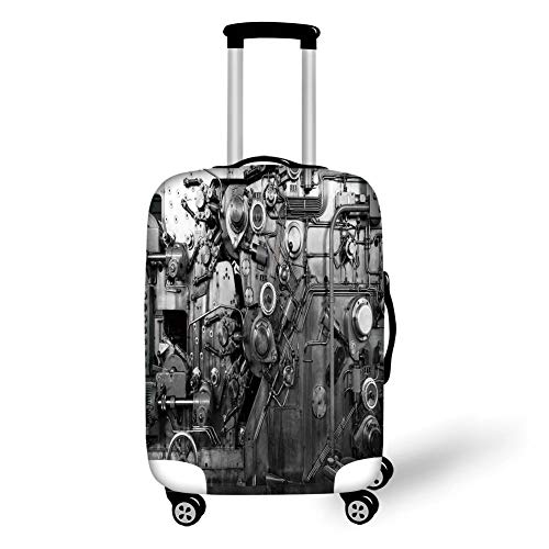 Travel Luggage Cover Suitcase Protector,Industrial Decor,Modern Times Detail of Rusted Machine in Factory Physical Equipment and Process,Black and White,for TravelXL 29.9x39.7Inch Pc New Factory