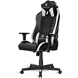 EMPIRE GAMING - Chaise Gamer Mamba Blanc et Noir inclinable - Ergonomique et Confortable - Réglable en Hauteur - Accoudoirs 3D réglables - Coussins lombaires et Nuque Inclus