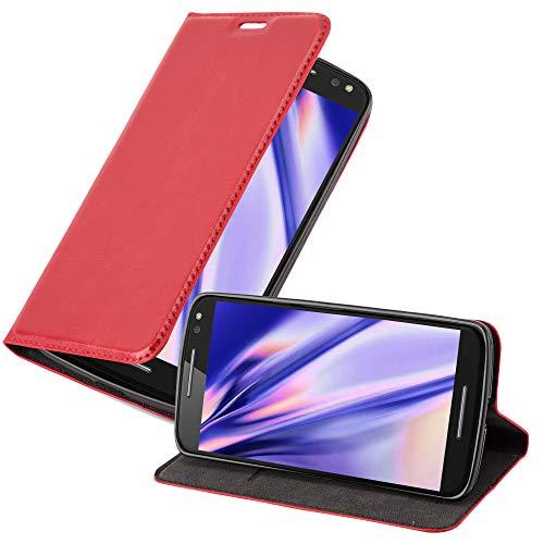 Cadorabo Coque pour Motorola Moto X Style en Rouge DE Pomme - Housse Protection avec Fermoire Magnétique, Stand Horizontal et Fente Carte - Portefeuille Etui Poche Folio Case Cover