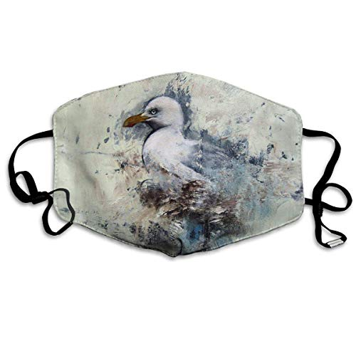 Monicago Einzigartige Unisex-Mundmaske, Gesichtsmaske, White Seagull Oil Painting Polyester Anti-dust Masks - Fashion Washed Reusable Face Mask for Outdoor Cycling
