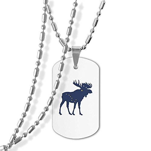 MAMA LAZCNYQL Alaska State Moose Flag Dog Tag Necklace Military Pendant Necklace (State Flag Dog Tag)