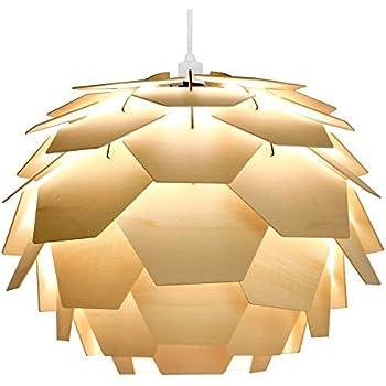 """Abats-Jour Moderne pour Suspension, Style Designer Scandinavie """"Artichaut"""", Panneaux du Bois nature clair en forme d'un boule. Adapte Pour Douille de 28mm ou 42mm"""