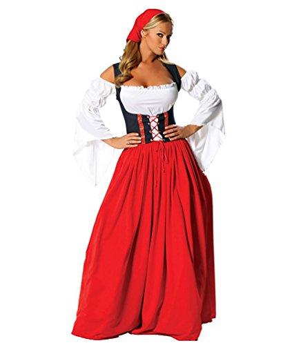 YOUJIA Damen Dirndl Trachtenkleid Oktoberfest Maxikleid Karneval Cosplay Kostüm Halloween Maid Lang Kleider Restaurant Trachtenkleid ()
