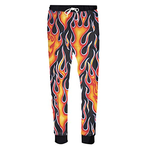 Ganzkörperansicht Hose Schwarz Männer 3D Print Flaming Feuer Jogginghose Homme Hip Hop Casual Hosen Hombre Hose Flaming Fire XXXL (Homme Kostüm Paris)