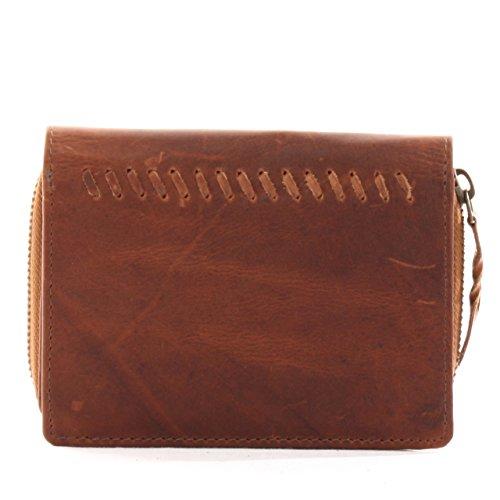 Leconi denaro Borsellino Portamonete Portafoglio in pelle compatto vintage donna 14x 10x 3cm le9007 Braun - waxy