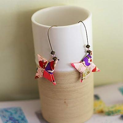 Boucles d'oreilles Origami Shuriken rose violet // idée cadeau pour filles et femmes
