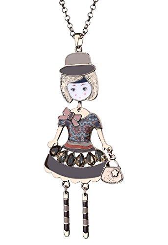 BABEYOND Damen modische Halskette mit Anhänger Ketten mit kleiner Mädchen Puppe lange Halsketten Damen Modeschmuck Accessoires 84cm + 7cm (Rosa Kleid Puppe) (Rosa Stein Modeschmuck)