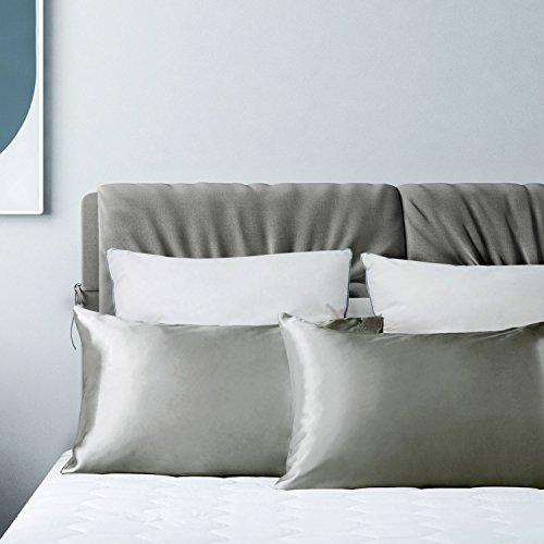 Bedsure federe cuscini di raso coppia grigio - federa cuscino letto per capelli e pelle 50 x 75 cm - facile da lavare