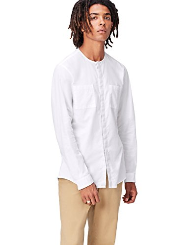 Find camicia con colletto serafino uomo, bianco (white), x-large