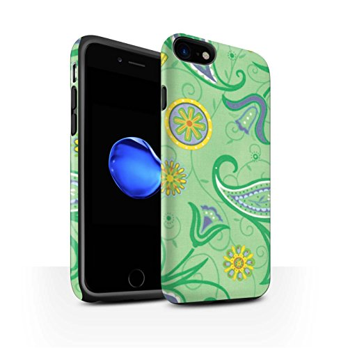 STUFF4 Matte Harten Stoßfest Hülle / Case für Apple iPhone 8 / Blau/Gelb Muster / Frühlingszeit Kollektion Gelb/Grün