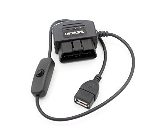 LoongGate® OBD-II OBD2 16Pin auf USB für die Stromversorgung mit Schalter für Auto-Kamera GPS und Car Electronics (USB Female) (Usb Zu Obd2)