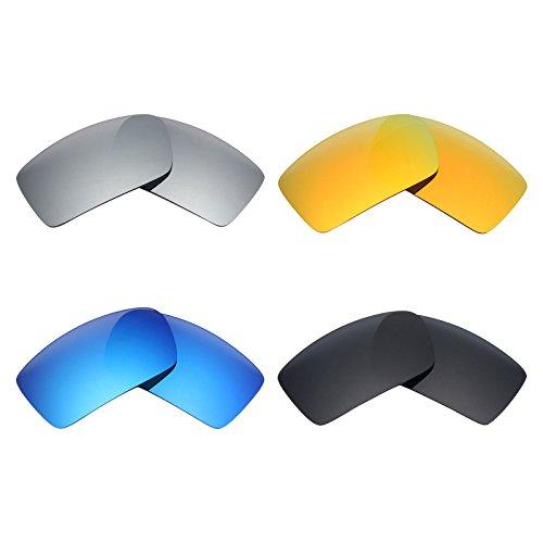 MRY 4Paar Polarisierte Ersatz Gläser für Oakley Gascan sunglasses-stealth schwarz/fire rot/ice blau/silber titan