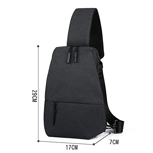 Uniqstore Oxford Unisex Brusttasche Crossbody Tasche Backpack Daypack Tasche mit USB Ladeanschluss Grau Grau