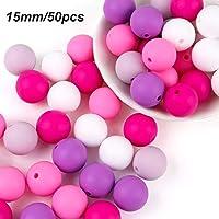 Cuentas Silicona Bebe 15mm/50pcs para Chupetero Alimentaria Mordedor Juguete de Dientes de Collar de