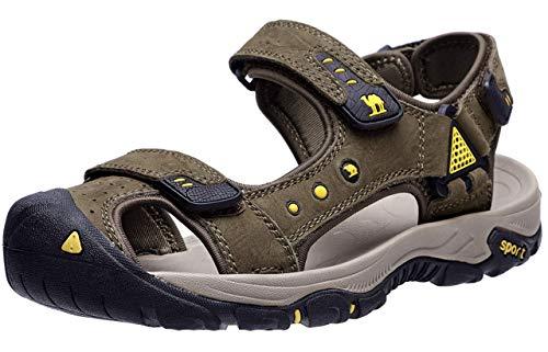 CAMEL CROWN Herren Sport Outdoor Atmungsaktiv Sandalen Wanderschuhe,Herren Geschlossene Leichte Sandale Trekking-Fitnessschuhe Männer Sommer (Kaffee, EU 45)