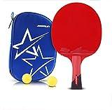 X&M 6 Sterne Ping Pong Paddel - Beste Profi tischtennisschläger mit hochleistungs-Kautschuk - Hölzerne Klinge mit Langem Griff-F