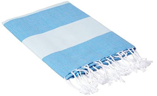 Bersuse 100% cotone - asciugamano turco cayman - certificato oeko-tex - peshtemal fouta per bagno e spiaggia - pestemal dai colori ricchi con strisce - 95x175 cm, blu