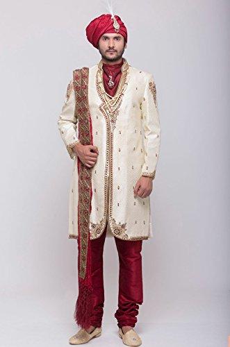 Azio Design Mens Jacquard Sherwani -Beige -Xl