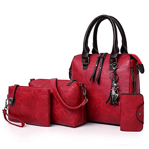 Segater® Damen Mode-Handtasche+Schultertaschen+ Geldbörse+Kartengeldbeutel Frau PU Leder Umhängetaschen Shopper Tote 4 Stück -
