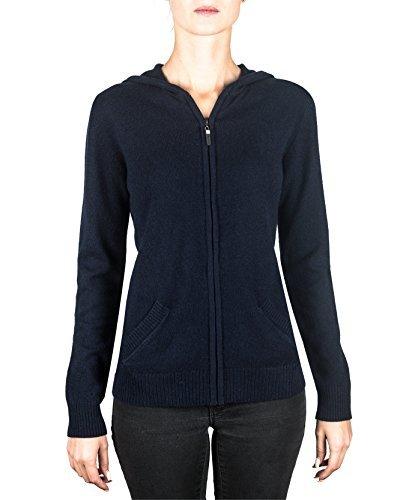 100% Kaschmir Damen Kapuzenpullover | Hoodie mit Reißverschluss (Blau / Marine, S)