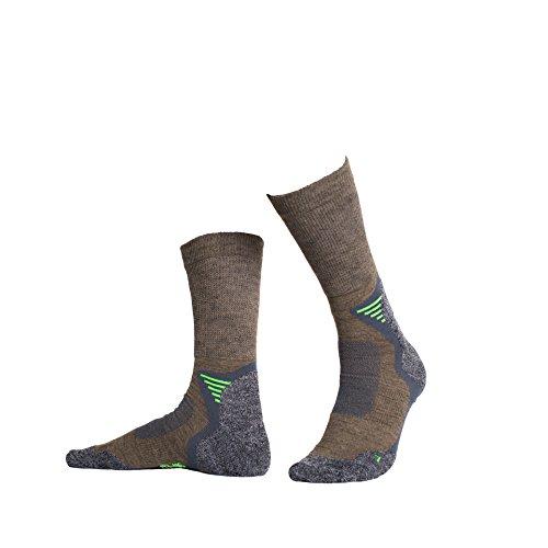 Hellerman - 2 Paar Bequeme Wandersocken/Trekkingsocken mit Merinowolle, atmungsaktive Funktionssocken mit Klimaausgleich für Damen und Herren (39-42, Taupe) (Diabetiker Gepolsterte Socken)