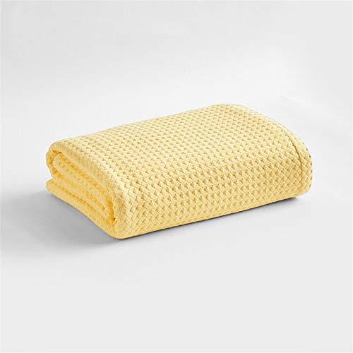LILUO Wohn- & Kuscheldecken Cotton Napping Klimaanlage weiche Decke Sommer dünne Single Handtuch ist bequem Baumwolle Sofa Decke, gelb, 150cm * 200cm -