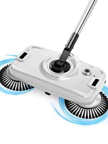 Elektro-Kehrmaschine, Multifunktionsdrei-In-1 360 ° Rotierende Drahtlose Geräuschminderung Schlanker Elektrischer Fußschalter-Doppelantrieb V-Roller-Silber