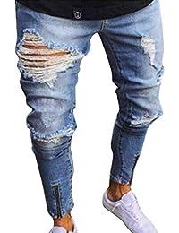 QK-Lannister Pantaloni da Uomo Resistenti al Ginocchio Pantaloni Ragazzo  Stropicciati Chiusura con Risvolto Pantaloni da Mendicante Comodi… 4764c7139a8c
