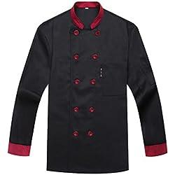WAIWAIZUI Camisa de Cocinero Cocina Uniforme Manga Larga Negro